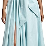 Tibi Satin Poplin One-Shoulder Wrap Dress ($625)