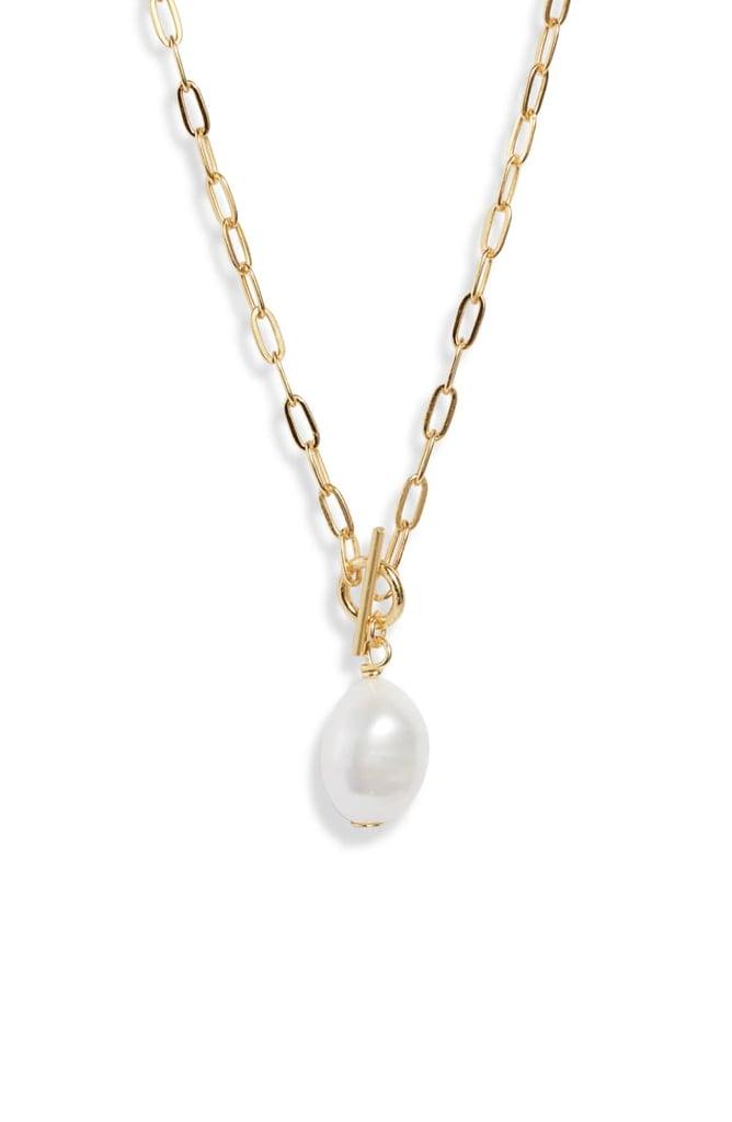 Argento Vivo Pearl Pendant Toggle Necklace
