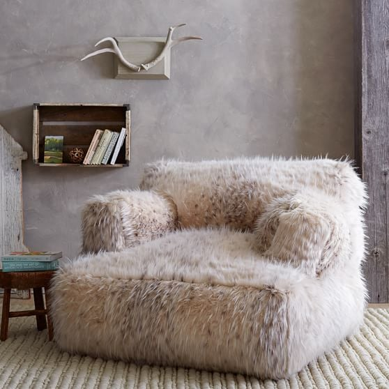 Snow Cat Faux-Fur Eco-Lounger