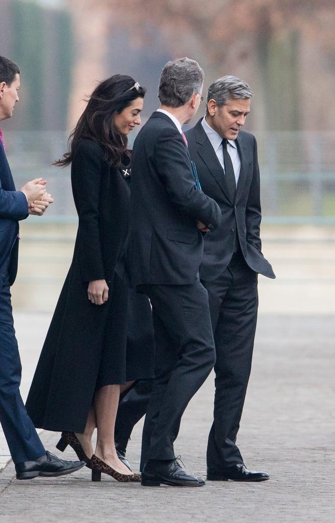 Amal Clooney Wearing a Black Coat in Berlin