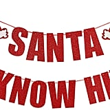 Red Glittery Santa I Know Him Christmas Banner