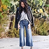 A Leather Jacket, Oversize Tee, Cropped Jeans, and Block-Heel Sandals