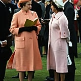 Elizabeth chatted with her sister at the Epsom Derby in 1979.