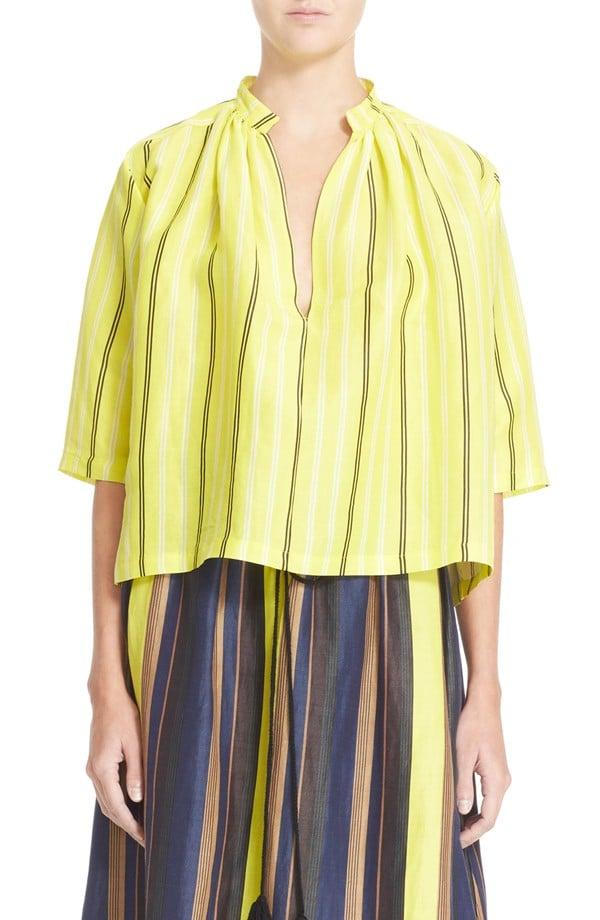 "Apiece Apart ""Agata"" Stripe Shirred Blouse ($335)"