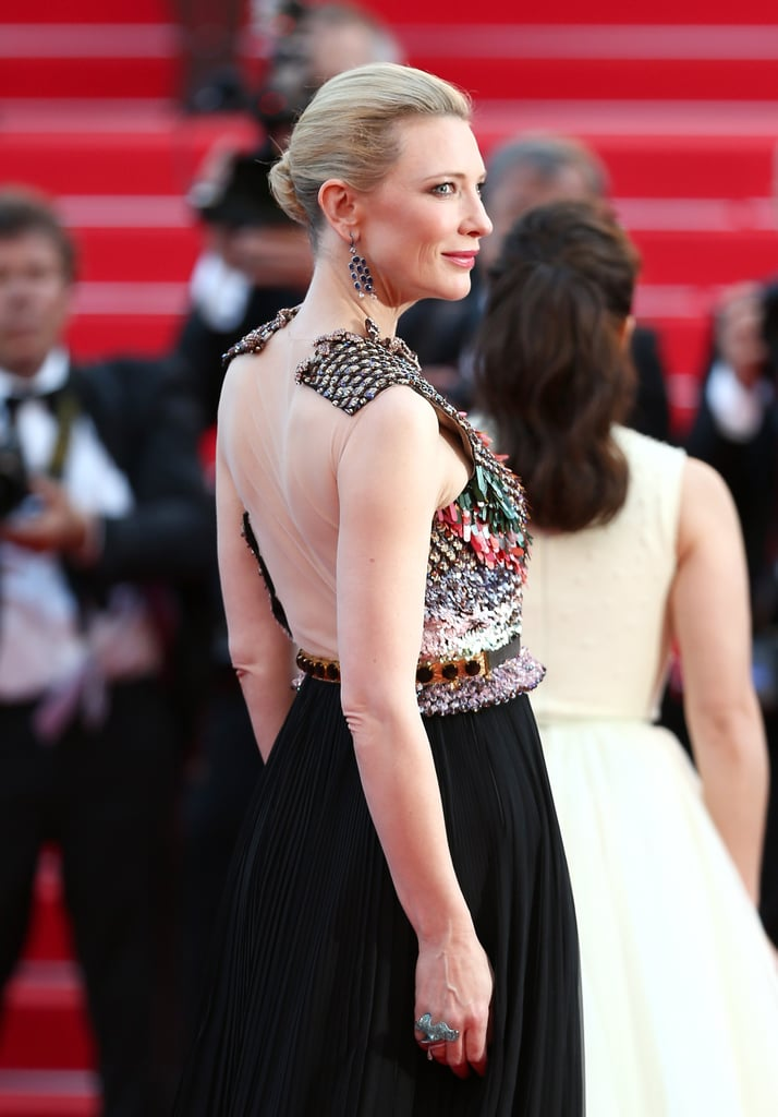 Cate Blanchett went backless for the premiere of How to Train Your Dragon 2.