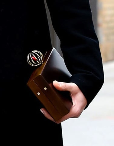 This wooden clutch looks like a custom masterpiece.