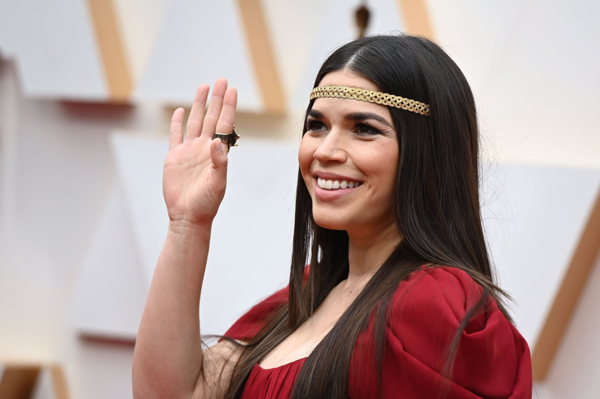 US actress America Ferrera arrives for the 92nd Oscars at the Dolby Theatre in Hollywood, California on February 9, 2020. (Photo by Robyn Beck / AFP) (Photo by ROBYN BECK/AFP via Getty Images)