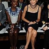 Estelle and Jessica Stam sat next to each other at Fallon.