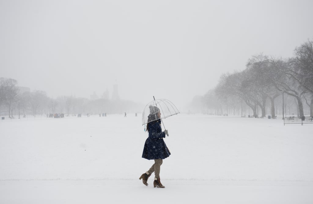 A woman walked through the snowy park in Washington DC.
