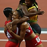 US runners Allyson Felix and Carmelita Jeter hugged as Jamaican runners Shelly-Ann Fraser-Pryce and Veronica Campbell-Brown also embraced after the women's 200-meter final.