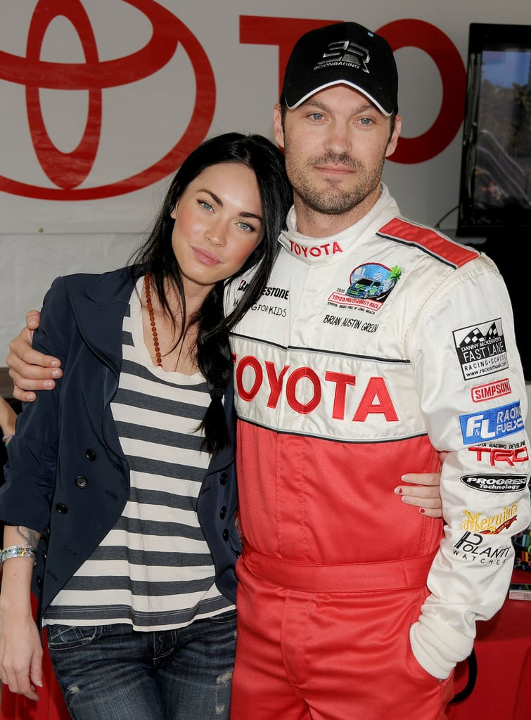 Brian had Megan's sweet support as he participated in a Toyota celebrity race day in LA back in April 2010.