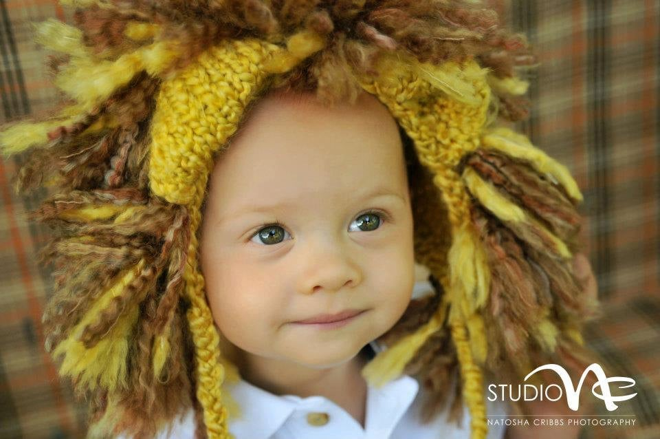 Hand-Knit Lion Hat