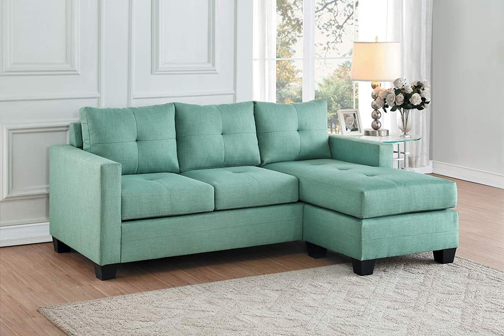 homelegance phelps fabric reversible chaise sofa