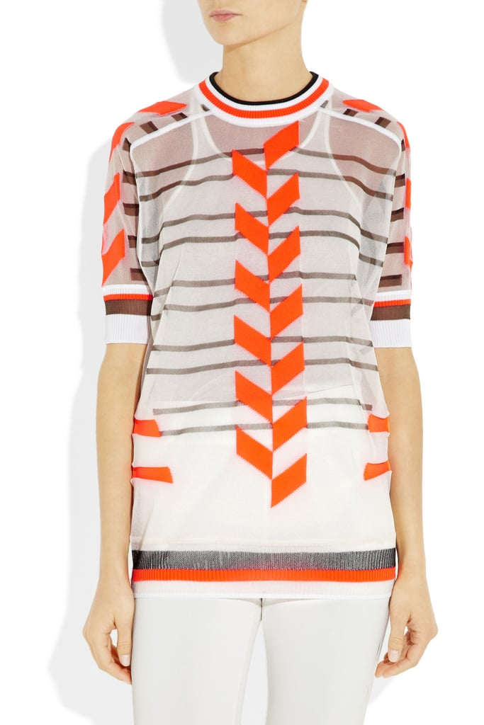 A sportier rendition on sheer — plus, this bold orange sweater will work as the perfect accent for evenings outdoors. Alexander Wang Sheer Intarsia Sweater ($473)