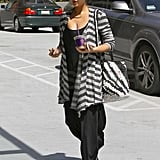 Jessica Alba sported oversized sunglasses.