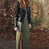 Make your maxi work overtime in on-trend military hue and with moody seasonal accents and layers. Source: Lookbook.nu