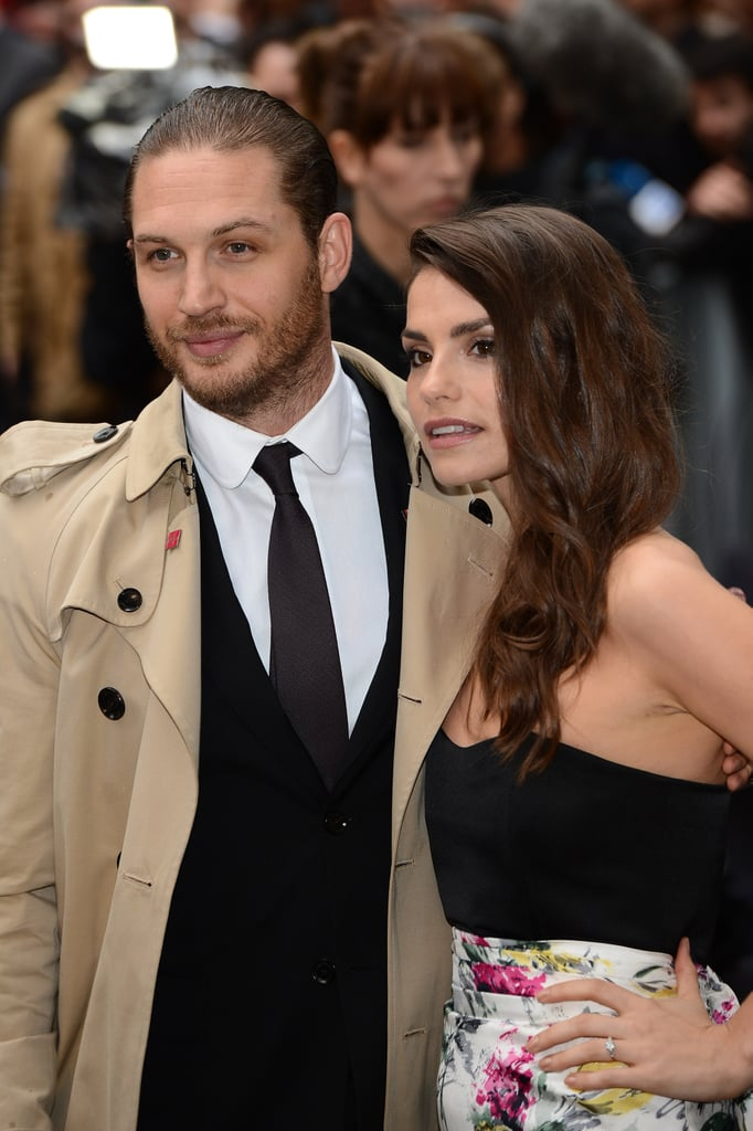 Tom Hardy posed with fiancée Charlotte Riley.