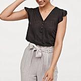 H&M Ruffle-Sleeved Linen Top