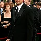 Leonardo DiCaprio looked dapper in a black suit.