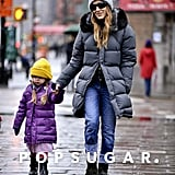 Sarah Jessica Parker braved the frightful NYC weather on Monday with her daughter Loretta.