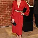 Ali Larter opted for a red wrap dress styled with a leopard-print belt and strappy sandals.