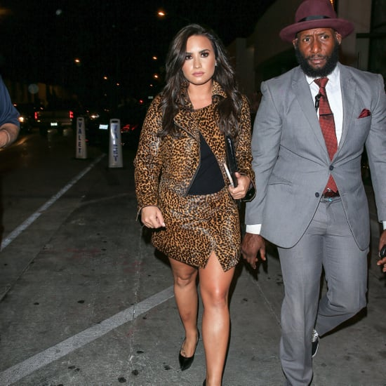 Demi Lovato's Animal-Print Skirt Suit October 2016