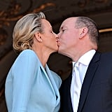 Princess Charlene of Monaco and Prince Albert II of Monaco seal the wedding with a kiss.