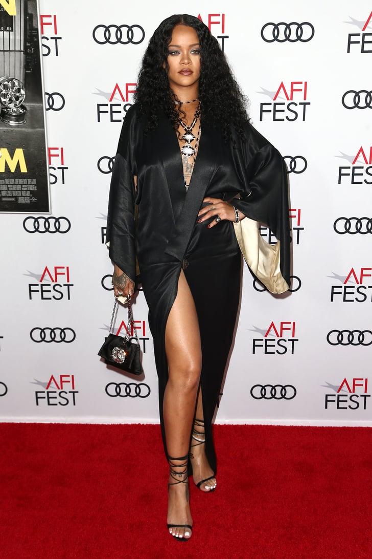 Rihanna Paired Her Vintage Silk Robe With Strappy Heels   POPSUGAR Fashion Photo 6
