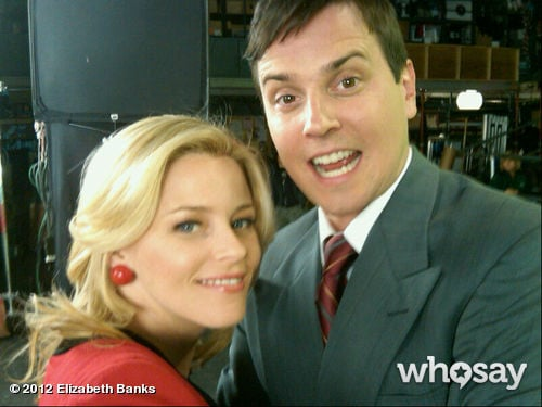 Elizabeth Banks posed with 30 Rock co-star Michael Mosley on the set.  Source: Elizabeth Banks on WhoSay
