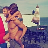 Taylor got a piggyback ride from Calvin during her big Fourth of July weekend with friends.