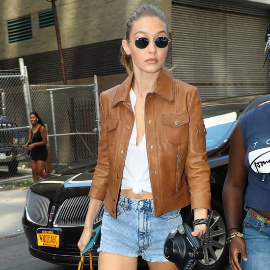 Gigi Hadid Wears Brown Leather Jacket