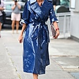 Giovanna Battaglia was ready for the inclement weather in a chic, high-wattage trench.