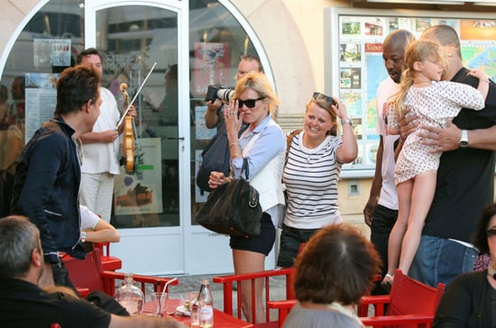 Kate Moss and family leaving a restaurant in St Tropez