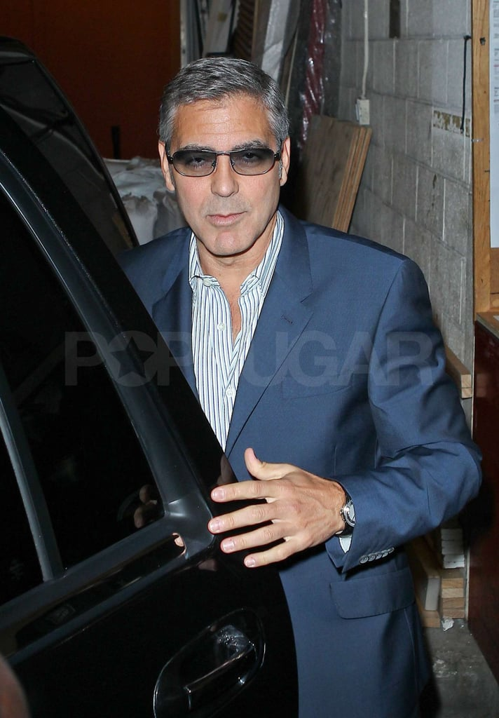 George Clooney hopped in a waiting car.
