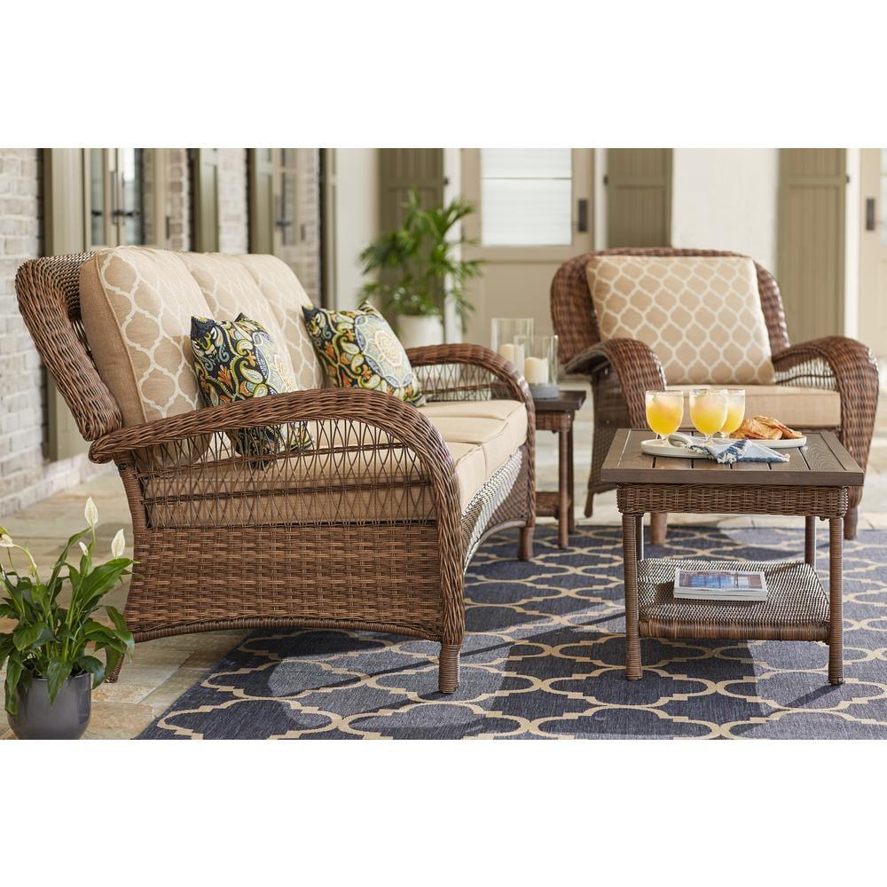 Hampton Bay Beacon Park Steel Wicker Outdoor Sofa With Cushions