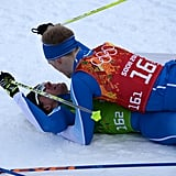 Finland's Sami Jauhojärvi got smothered by a teammate after winning gold in the cross-country ski team sprint.