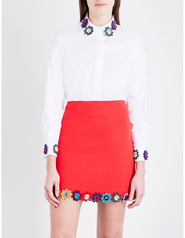 Mary Katrantzou Shane Flower-Appliqué Stretch-Cotton Shirt