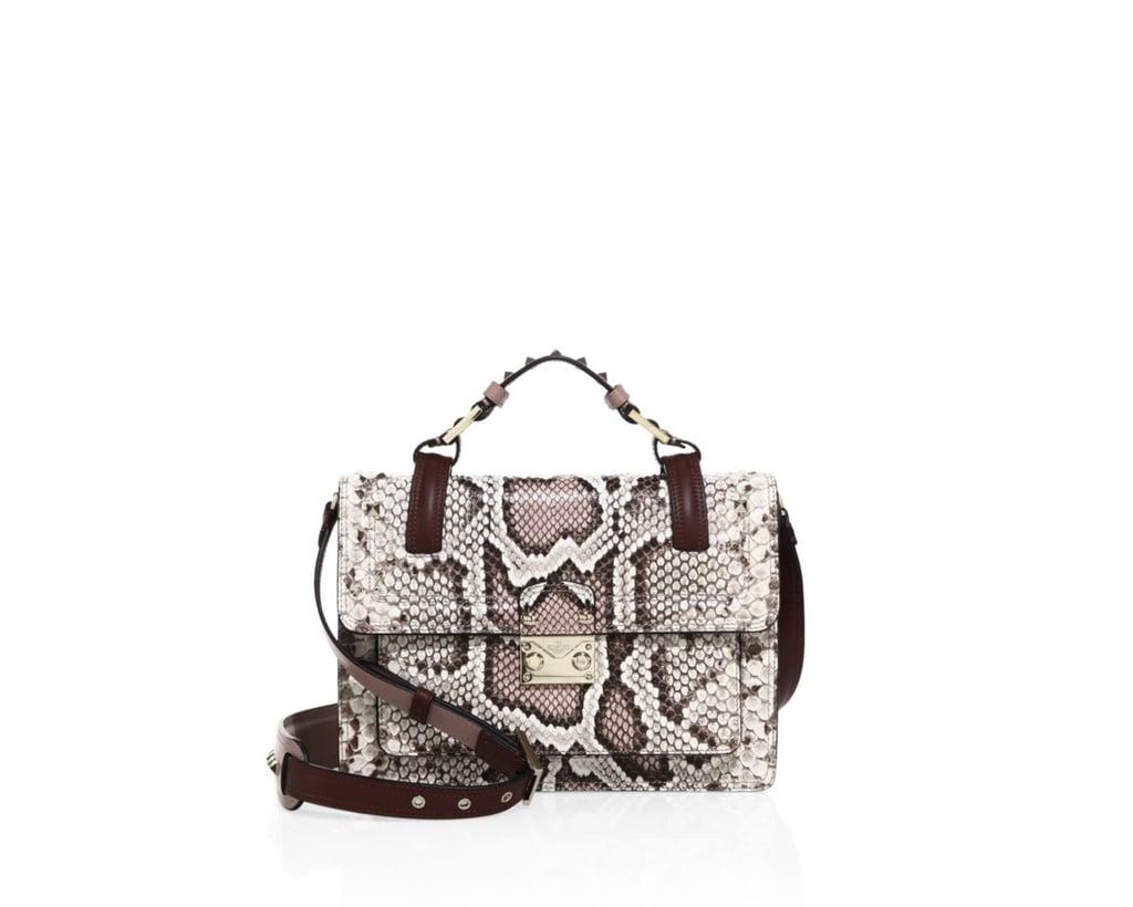 Valentino Small Lock Python Top-Handle Shoulder Bag