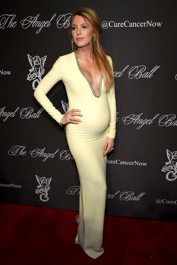 Wearing a body-hugging Gucci dress to the 2014 Angel Ball.