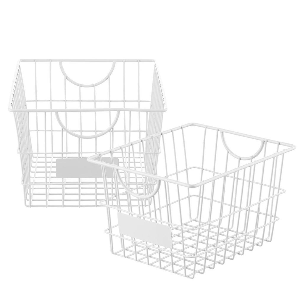 White Wire Storage Baskets