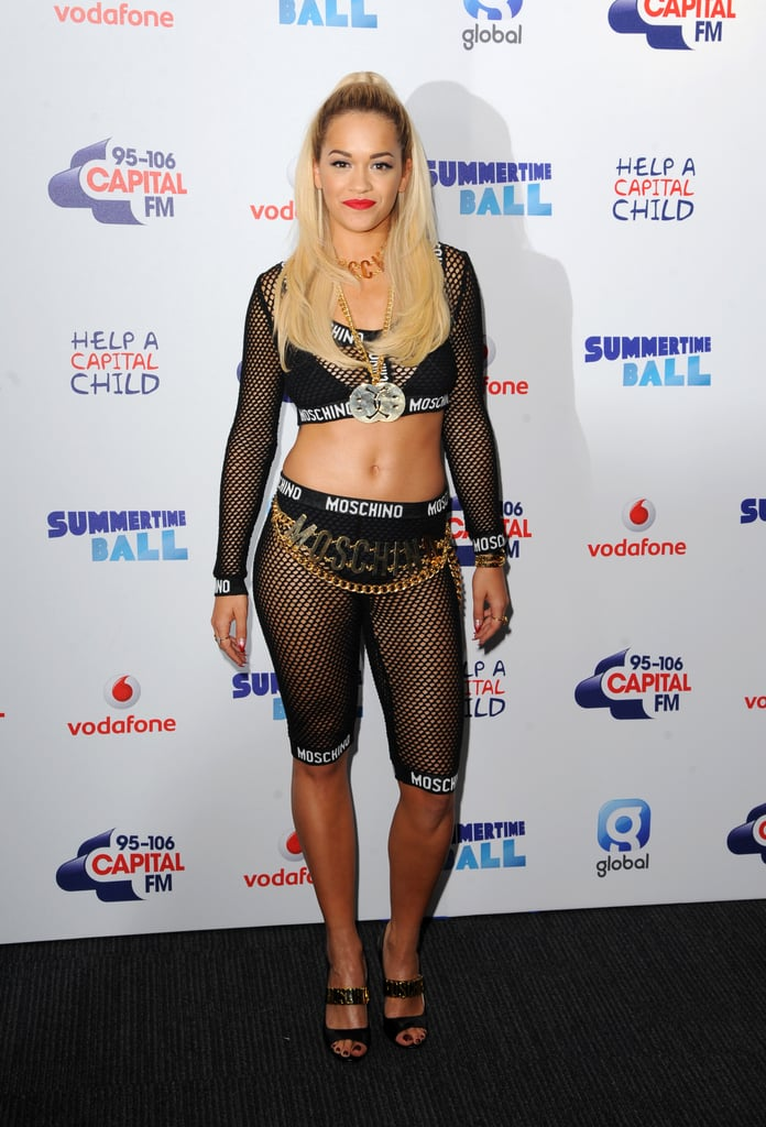 On Saturday, Rita Ora bared her midriff at the Capital FM Summertime Ball at Wembley Stadium in London.