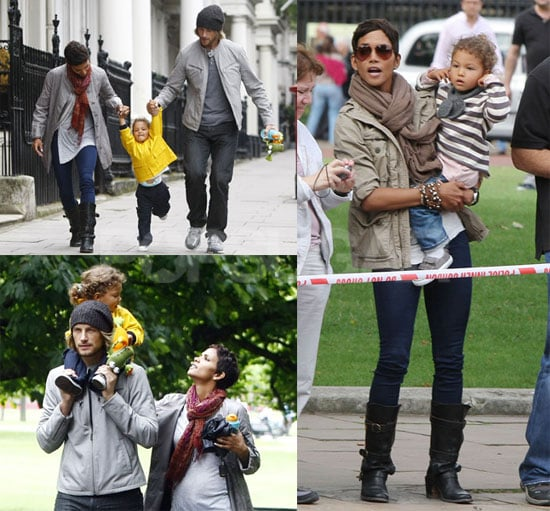 Pictures of Halle Berry, Gabriel Aubry and Nahla in London