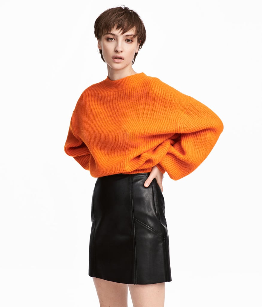 H&M Rib-Knit Sweater | Selena Gomez's Orange Sweater and Red Skirt ...