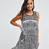 Boohoo Petite Silver Fringed Dress