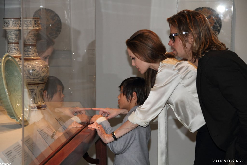Angelina Jolie debuted her engagement ring in April while with Brad Pitt and their son Pax at LA's LACMA.