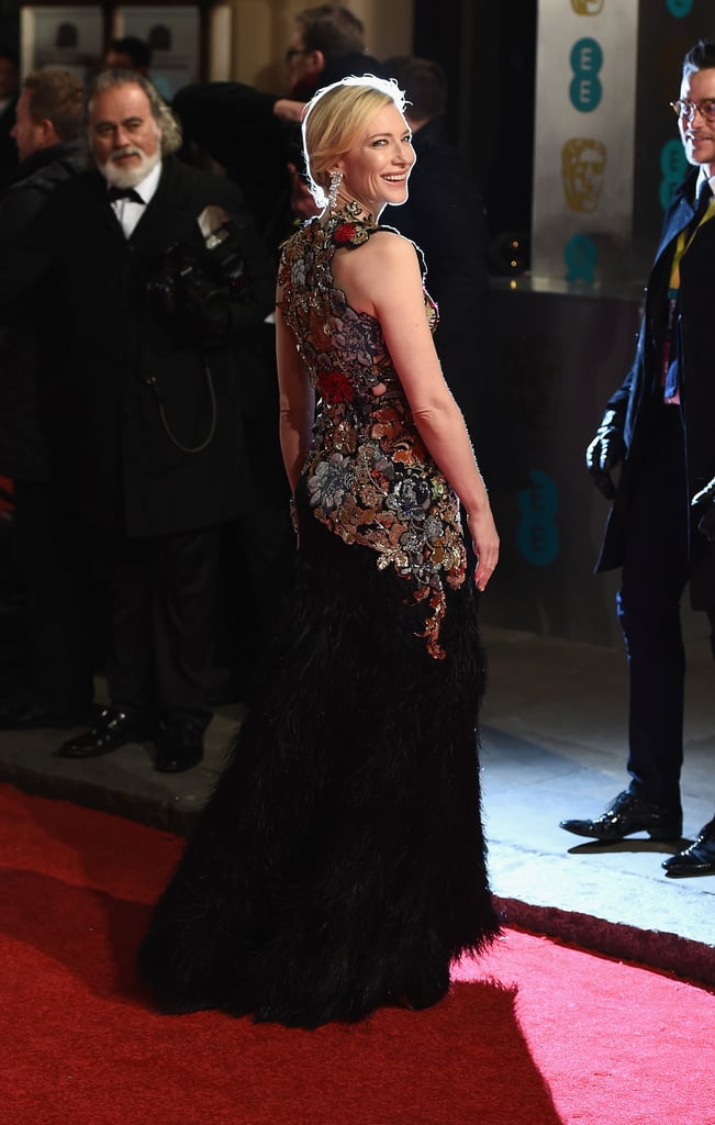 Cate Blanchett has never been the kind of actress who choses the safe option on the red carpet, and her BAFTA Film Awards look was no exception. The star turned to British design house Alexander McQueen for her dramatic look, which combined an intricately embroidered and embellished top with a black feather skirt. The two pieces were shown separately on the Spring 2016 runway, and by putting them together Cate created a truly memorable look. Sparkling  Tiffany & Co. drop earrings and a cuff bracelet added yet more sparkle to the ensemble, which you can take a closer look at from all angles now. Then, check out all the other stars hitting the red carpet in London tonight.