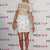 Channeling her sunny side in an eclectic skirt and blouse combo at MOCA '09.