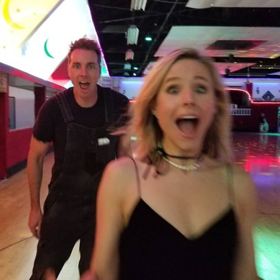 Kristen Bell and Dax Shepard at Roller Rink