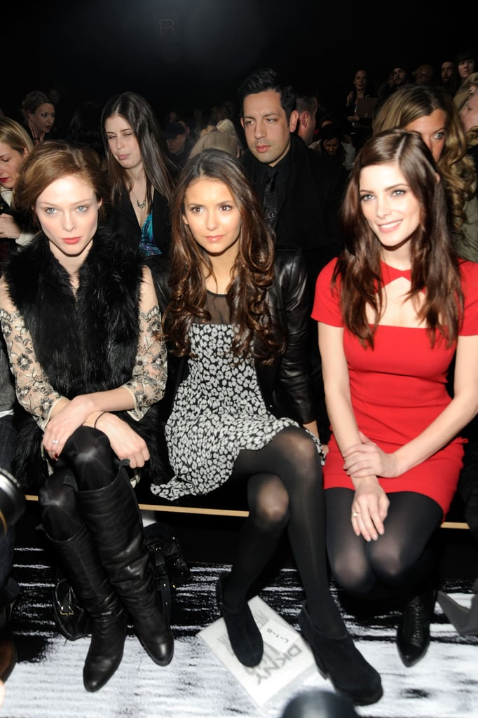 Nina Dobrev sat next to model Coco Rocha and Ashley Greene at the DKNY show.