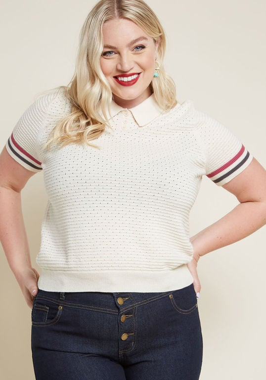 Modcloth Flying Polo Short Sleeve Sweater